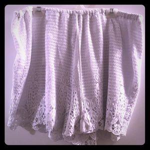 White Lacy Linen Drawstring Shorts